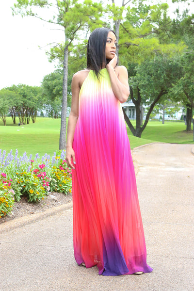 TAKE CENTER STAGE (OMBRE YELLOW/PINK/ORANGE/VIOLET FADE MAXI ) - Karma Couture Boutique