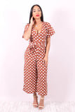 SPOT LIGHT (MOCHA POLKA DOT JUMPSUIT) - Karma Couture Boutique