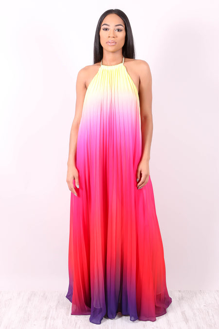 TAKE CENTER STAGE (OMBRE LAVENDER/BLUE/PURPLE/FUSHIA FADE MAXI )