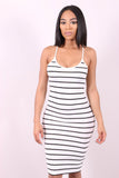 STRIPE YOU ARE (WHITE) - STRIPPED BODYCON DRESS - Karma Couture Boutique