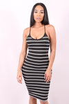 STRIPE YOU ARE (BLACK) - STRIPPED BODYCON DRESS - Karma Couture Boutique