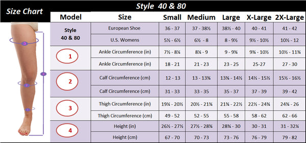 Gabrialla Thigh High Size Chart