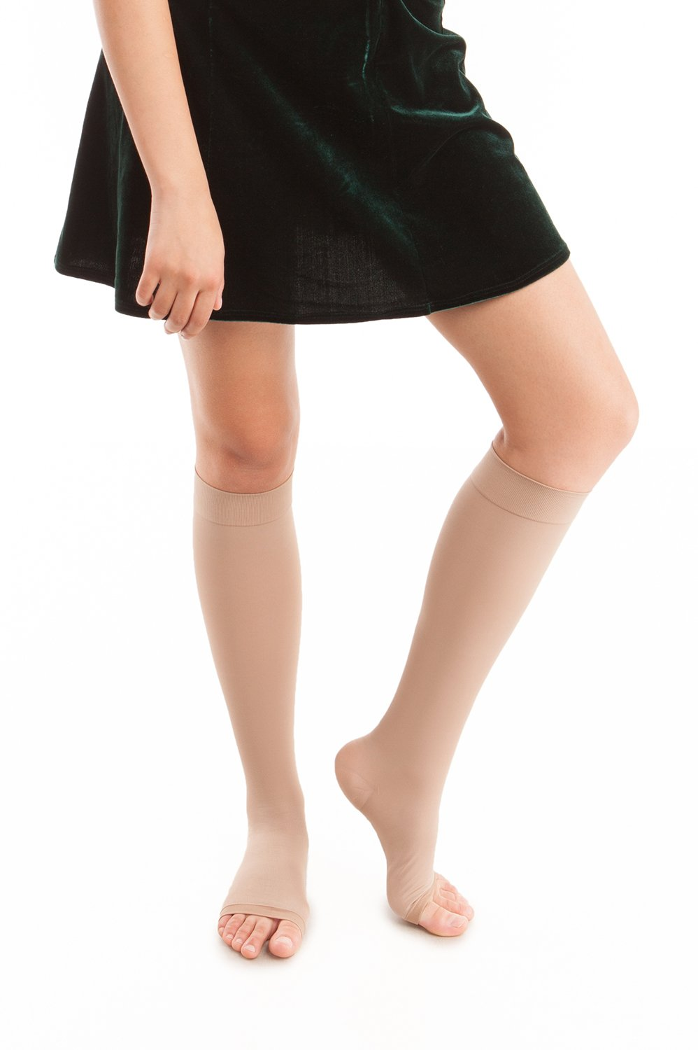 Microfiber Open Toe Knee Highs - Graduated Strong Compression - 25 to 35 mmHg (H-304(O))