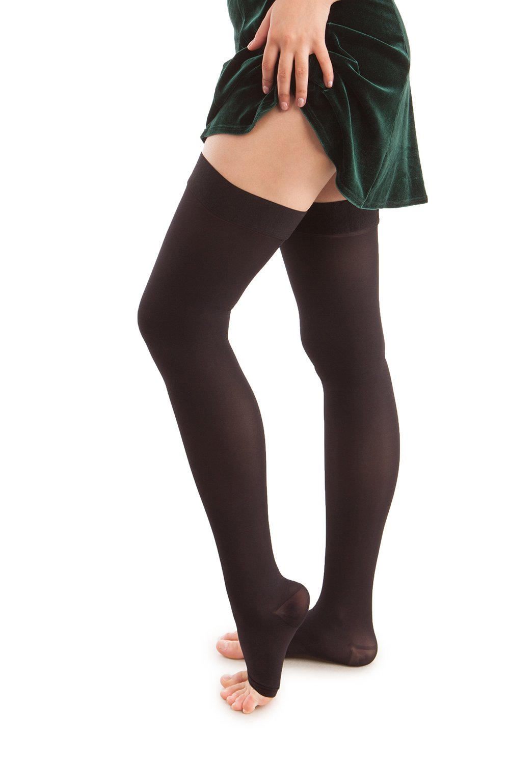 Microfiber Open Toe Thigh Highs - Strong Compression - 25 to 35 mmHG
