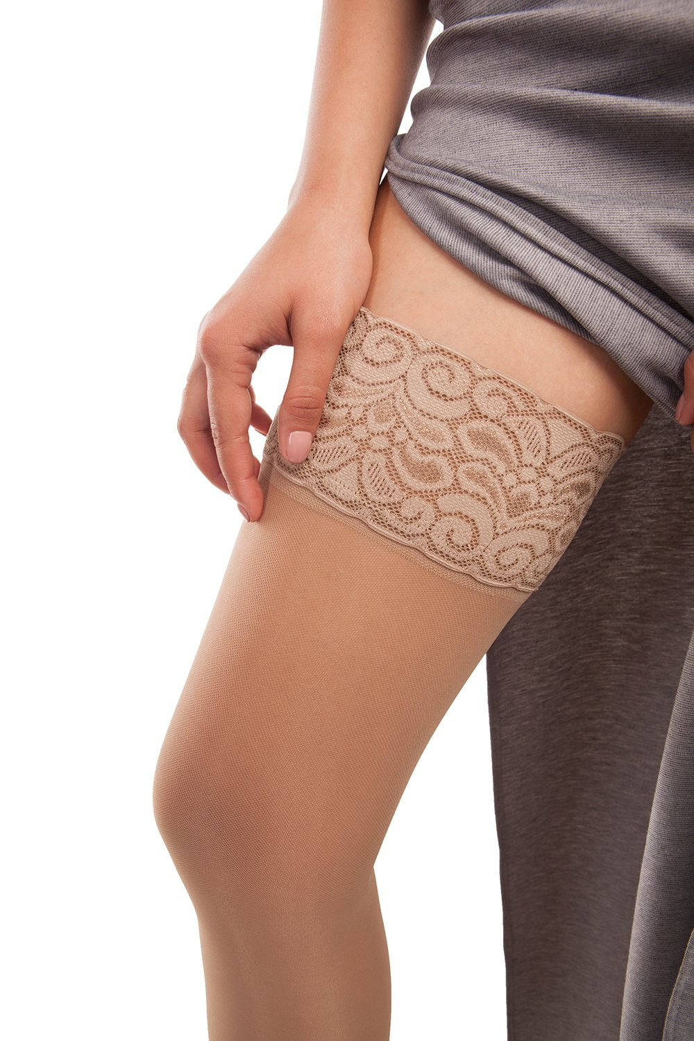Sheer Thigh Highs - Firm Compression - Gabrialla