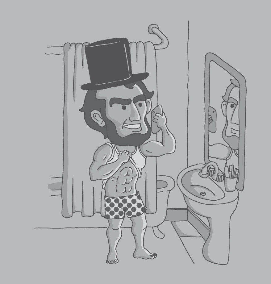 abraham lincoln bro abs flexing shirtless mirror selfie joke tee shirt