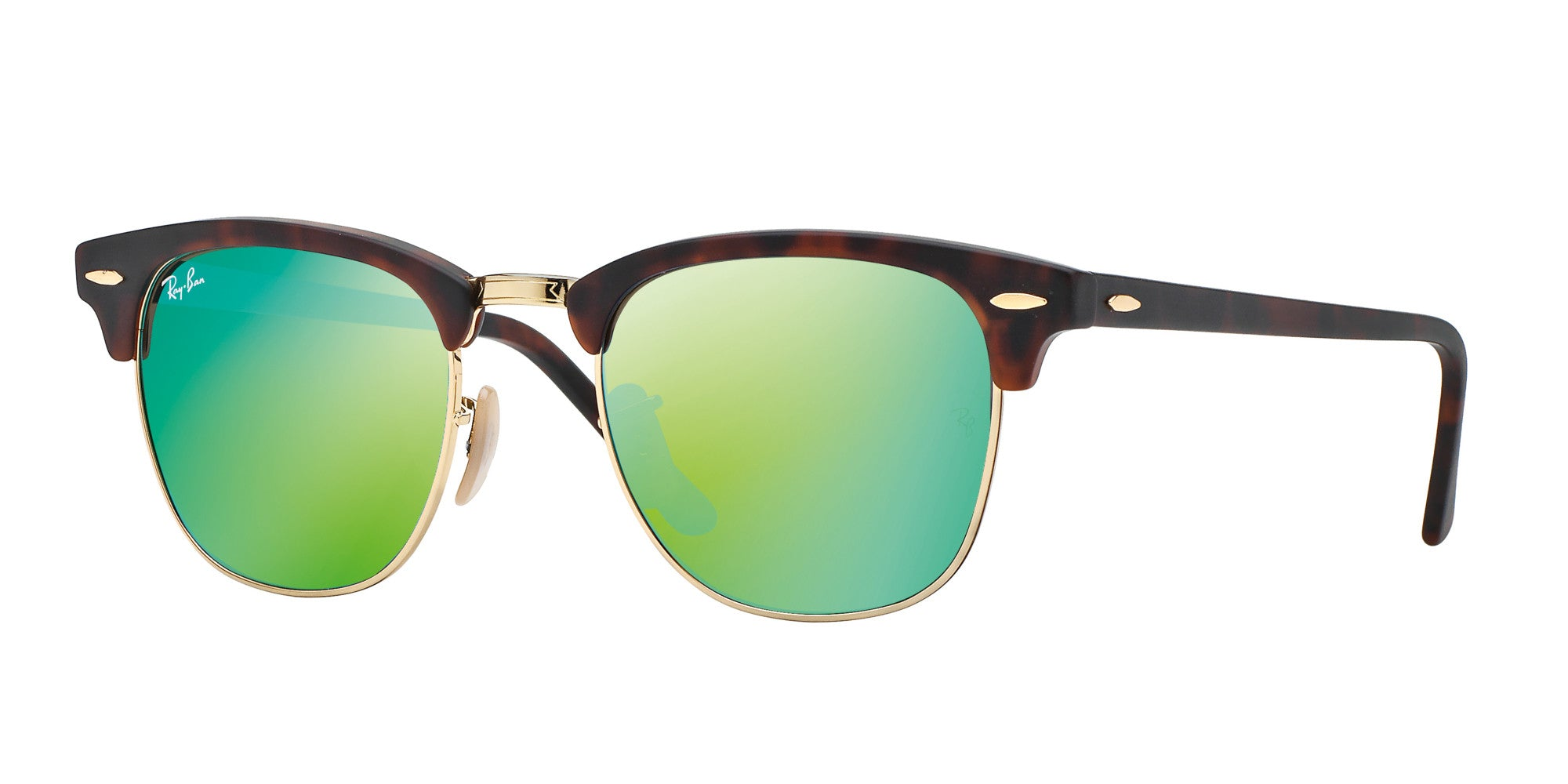 f05be696d2ef67 Ray-Ban CLUBMASTER - SAND HAVANA GOLD Frame GREY MIRROR GREEN Lenses 51mm  Non