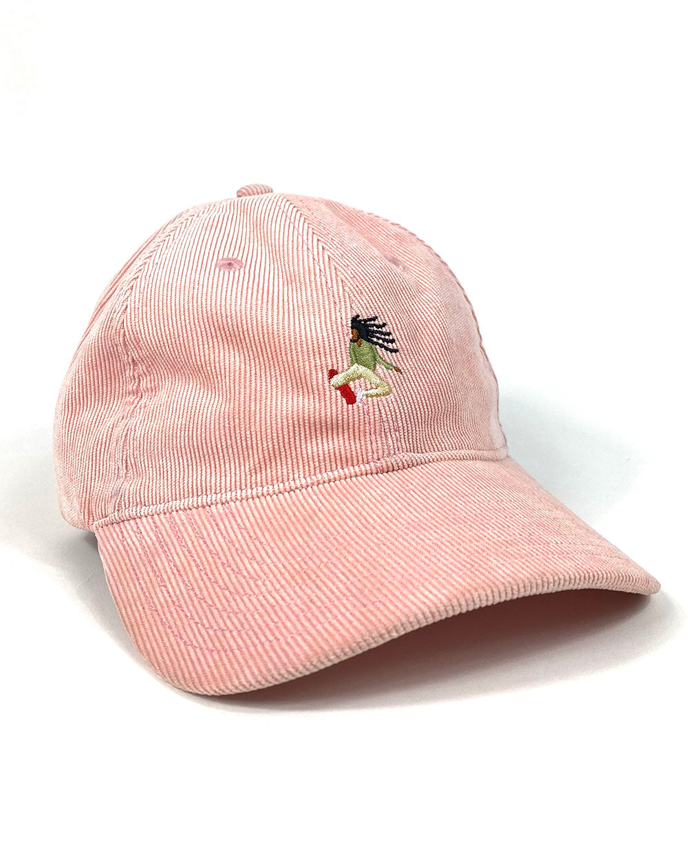 """Vibes"" Pink Embroidered corduroy dad hat"
