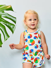 Boys&Girls kids unisex bouncy print vest in organic cotton