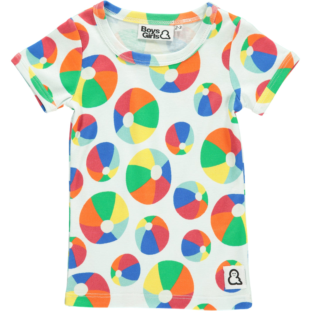 Boys&Girls unisex kids bouncy print t-shirt in organic cotton