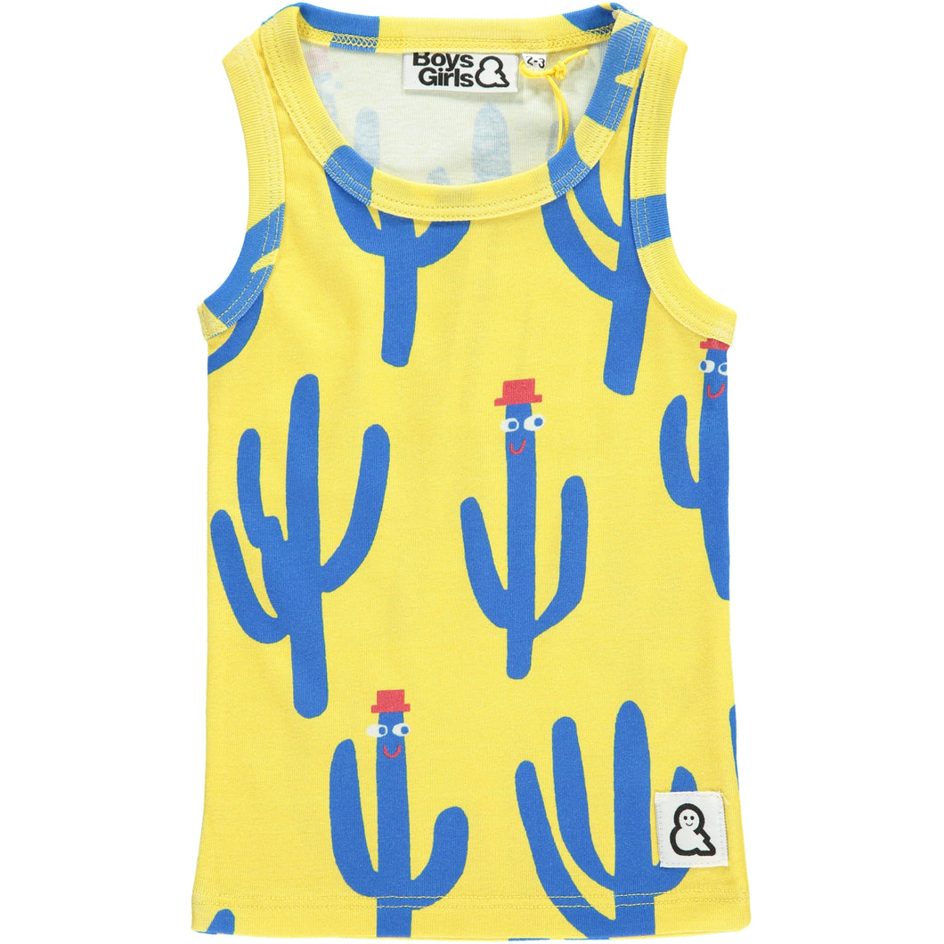 Boys&Girls unisex kids cactus print vest in organic cotton
