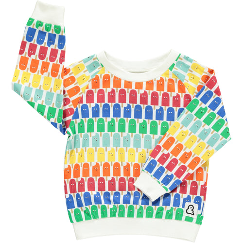 Boys&Girls unisex kids lolly pop print top in organic cotton