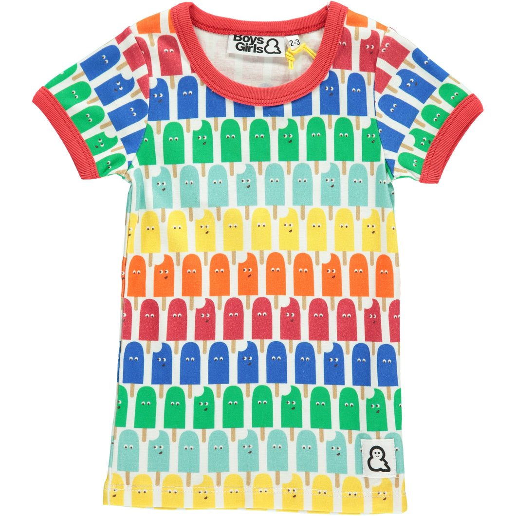 Boys&Girls unisex kids lolly pop print t-shirt in organic cotton