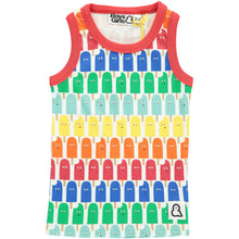 Boys&Girls unisex kids lolly pop print vest in organic cotton