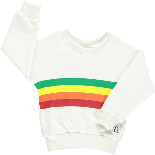 Boys&Girls unisex kids rainbow stripe sweat crew in organic cotton