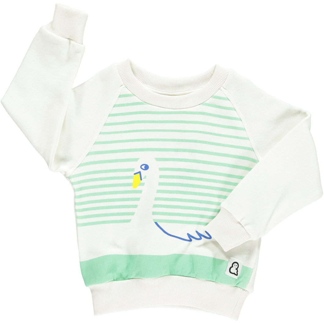 Boys&Girls unisex kids swan print sweat crew in organic cotton