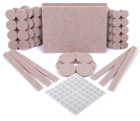 Premium 124 Pack Furniture Pads, 60 Felt Pads & 64 Rubber Bumpers