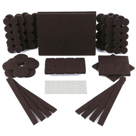 Premium Furniture Felt Pads & Rubber Bumpers 150 Pack Brown Hardwood Floor Protectors