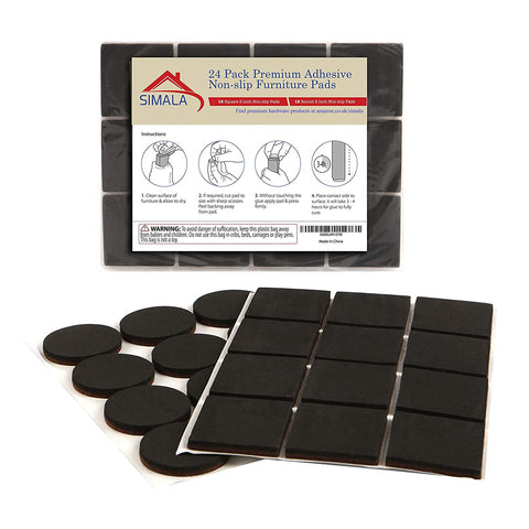Non slip furniture pads, 24 Pack 12 Square & 12 Round 2 Inch Rubber Pads