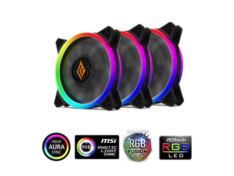 VENTOLA LIPS 120 RGB 3IN1 PWM BLK PACK 3 VENTOLE 120MM RGB CONTROLLER
