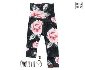Grow with me pants - Pink flowers