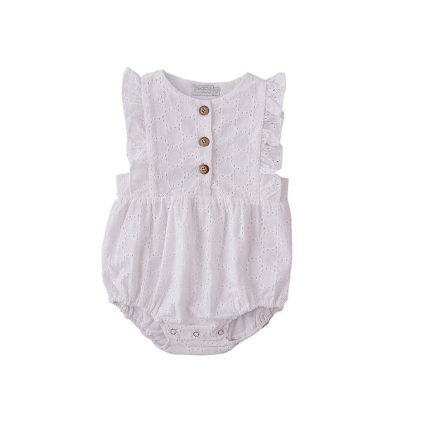 S17 Peggy August Playsuit in White Broidery