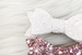 """SIENNA"" BOW HEADBAND - GLITTER WHITE"