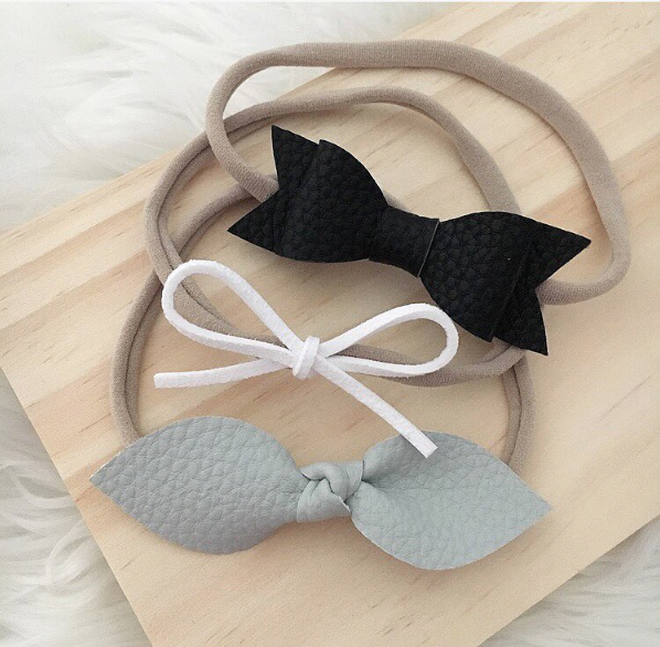 """ASHA"" SLIM SUEDE BOW HEADBAND - WHITE"