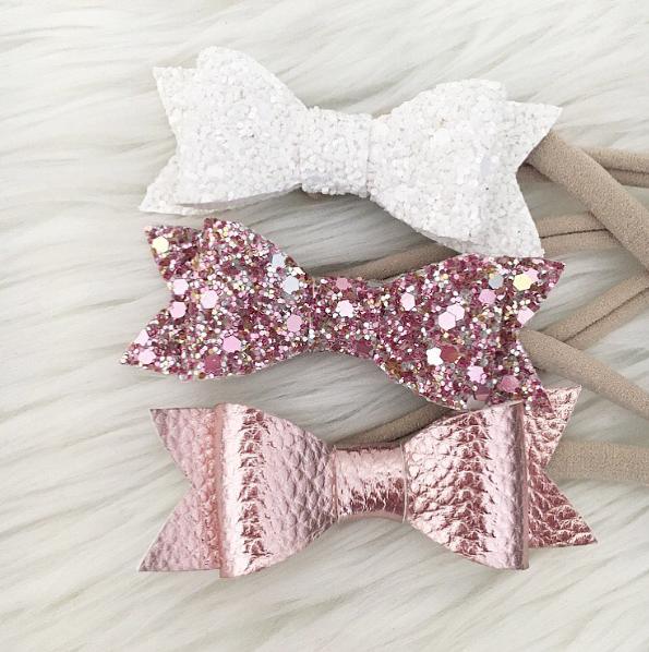 """SIENNA"" BOW HEADBAND - METALLIC BLUSH"
