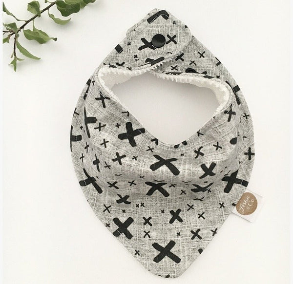 """GREY BLACK CROSS"" ORGANIC BANDANA BIB"