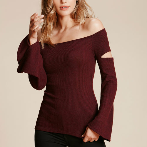 Open-Arm Bell Sleeve Top