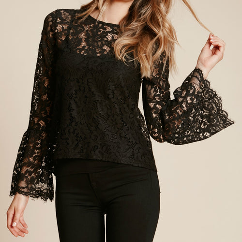 Lace Bell-Sleeve Top