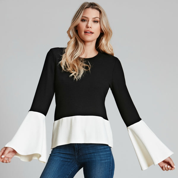 Bell-Sleeve Color Block Top