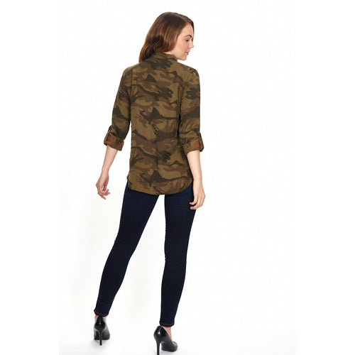 Camouflage Button Down Blouse