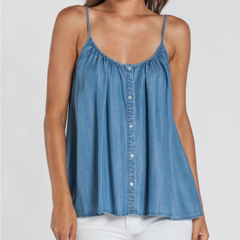 Button-Down Pleated Tank