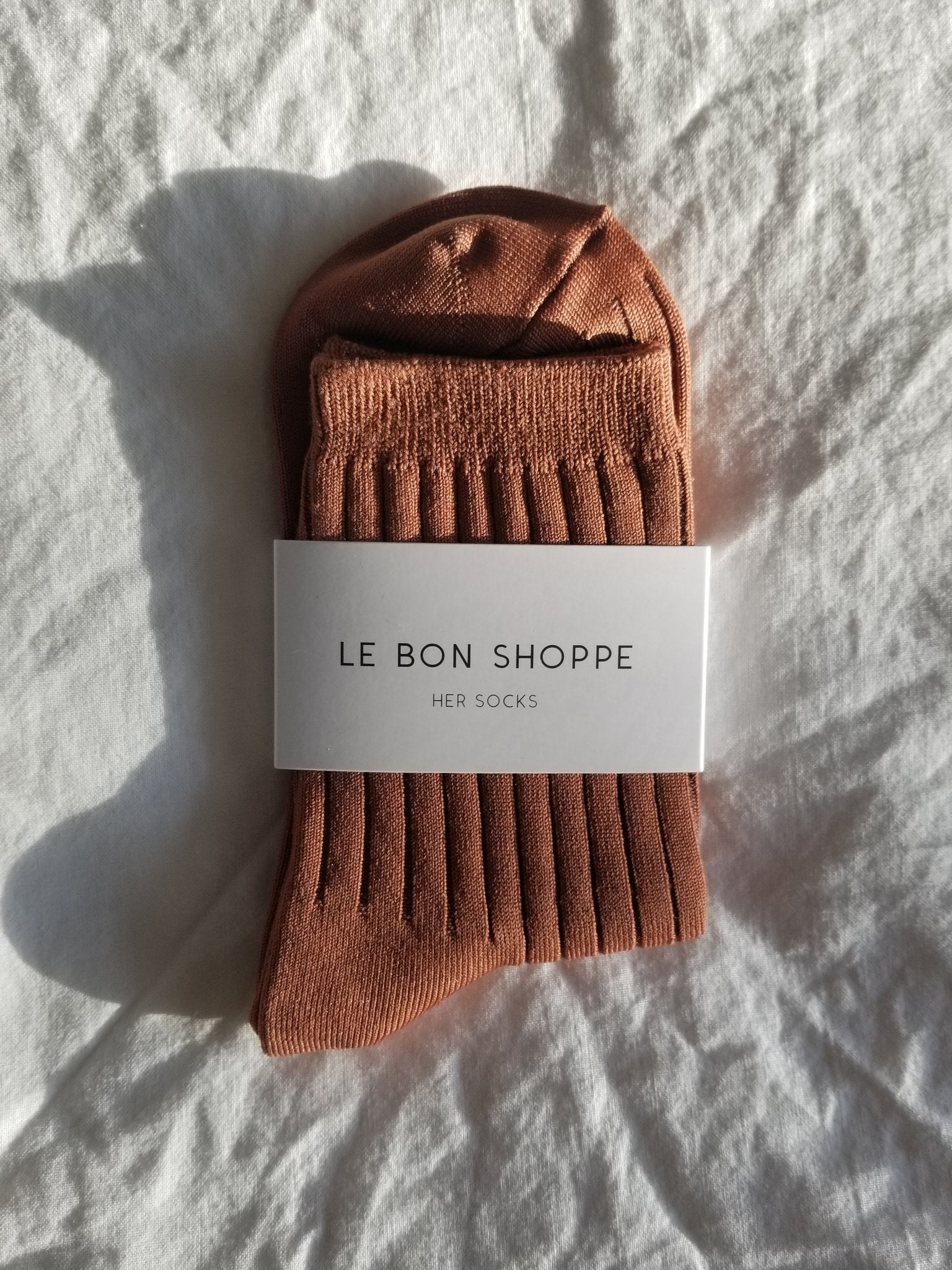 Le Bon Shoppe Her socks in Caramel. Available at EASE Toronto.