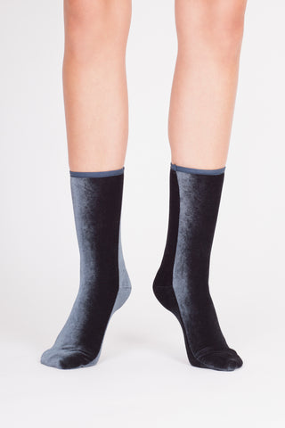 Velvet Socks - CHARCOAL BLUE