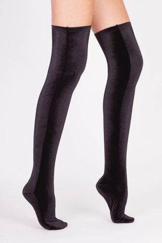 Velvet Overknee Socks BLACK