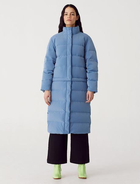 Paloma Wool long puffer jacket in Ink Blue. Available at EASE Toronto.