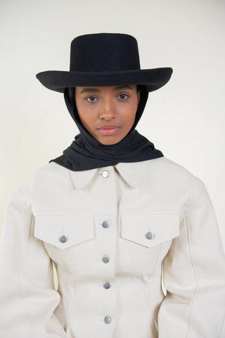 Gambler Hat With Neck Scarf - Black