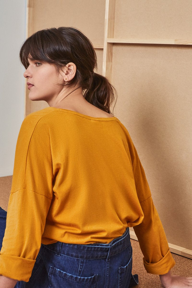 Building Block Relaxed Long Sleeve Top - Amber