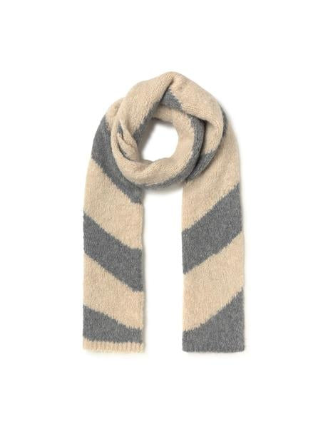 Paloma Wool swirling stripe DIXIT scarf in Melange Grey. Available at EASE Toronto.