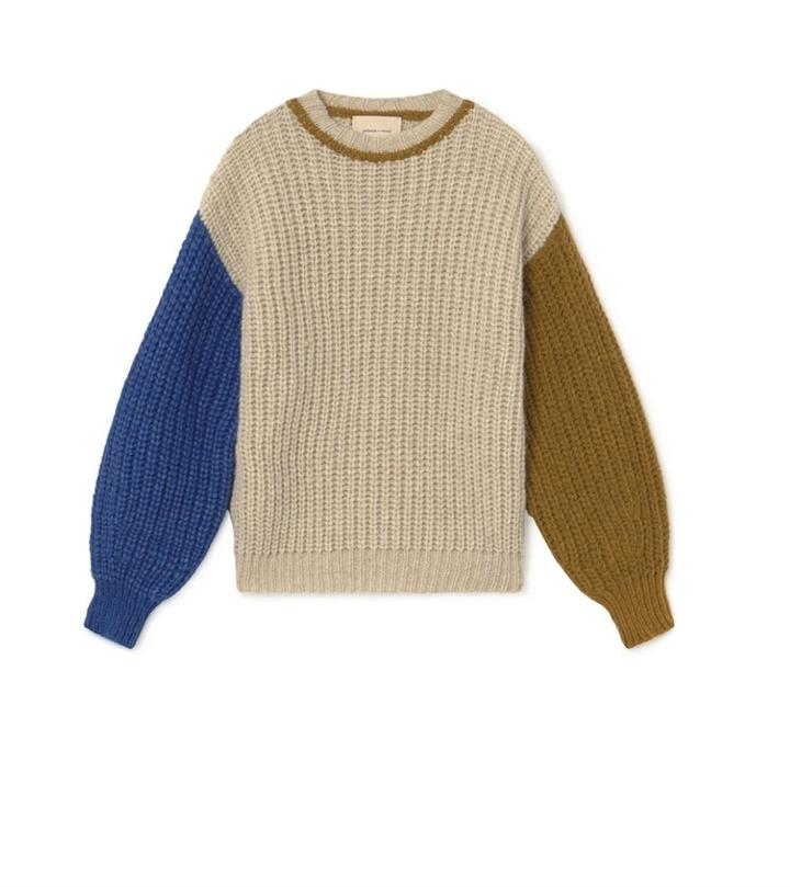 Paloma Wool colour block sleeve FRIGO chunky knit sweater in Light Beige. Available at EASE Toronto.