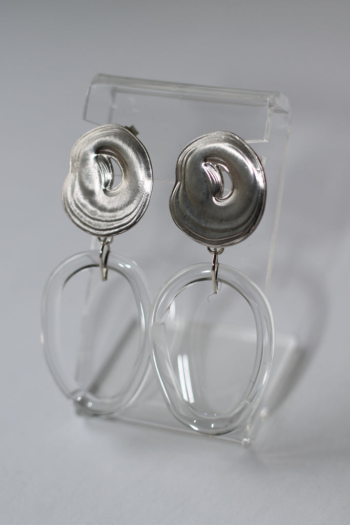 Glass and Sterling Silver Teardrop Hoops