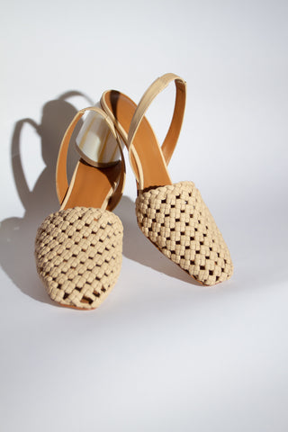 Nina Woven Leather Slingback - Biscuit