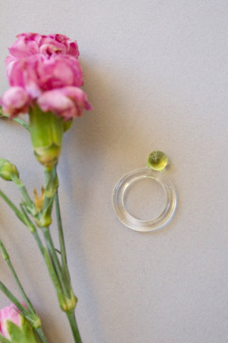 Glass Dot Ring in Clear with Lime