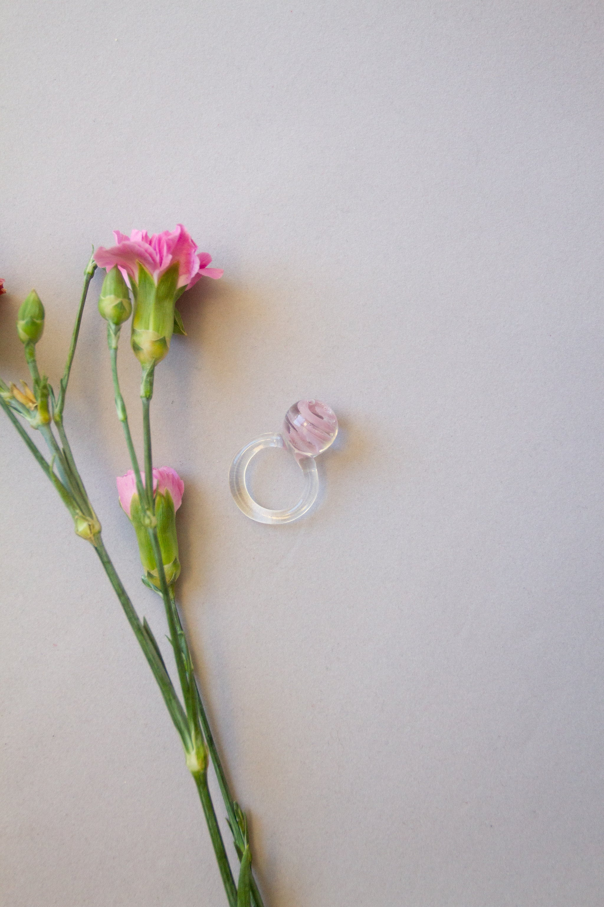 Glass Marble Orb Ring in Pink