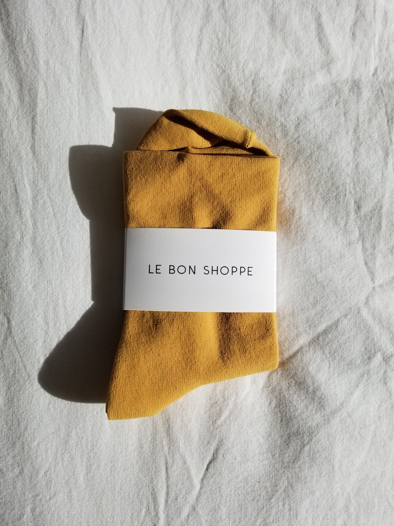 Le Bon Shoppe Pump socks in Saffron. Available at EASE Toronto.