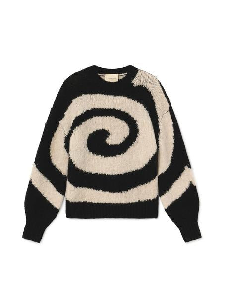 Paloma Wool swirl, soft knit, puff long-sleeve sweater in Black & White. Available at EASE Toronto.