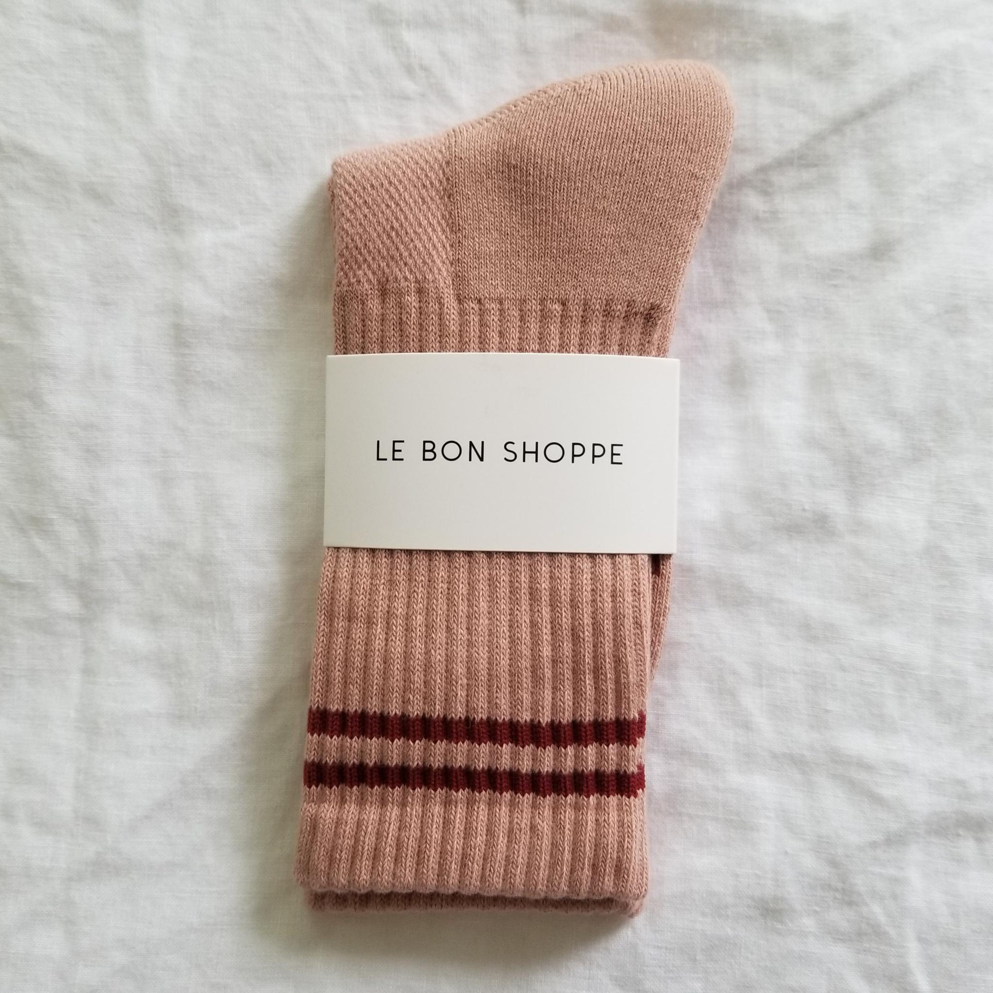 Le Bon Shoppe Boyfriend Socks in Vintage Pink. Available at EASE Toronto.